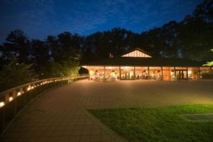 Visitor Center Pavilion patio at night