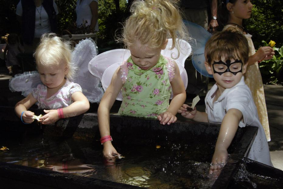kid fairies at enchanted woods water trough