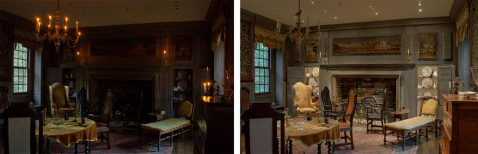 comparison montage of lighting a room