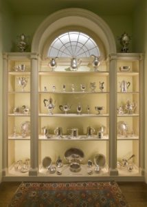 silver in display cabinet