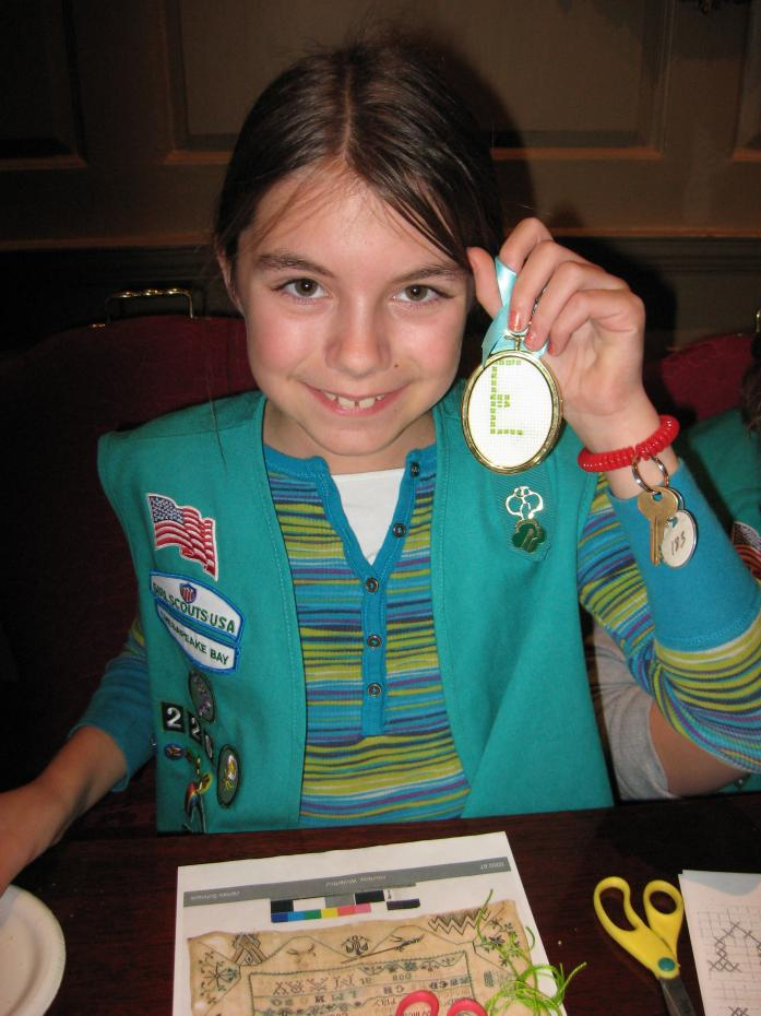girl scout with embroidery