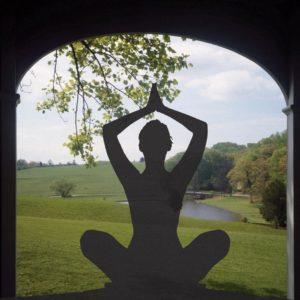 yoga in doorway