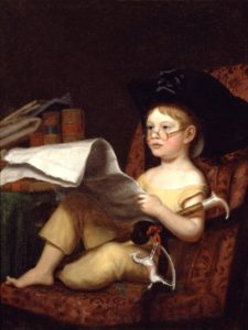 painting of kid in pirate hat and lounge chair