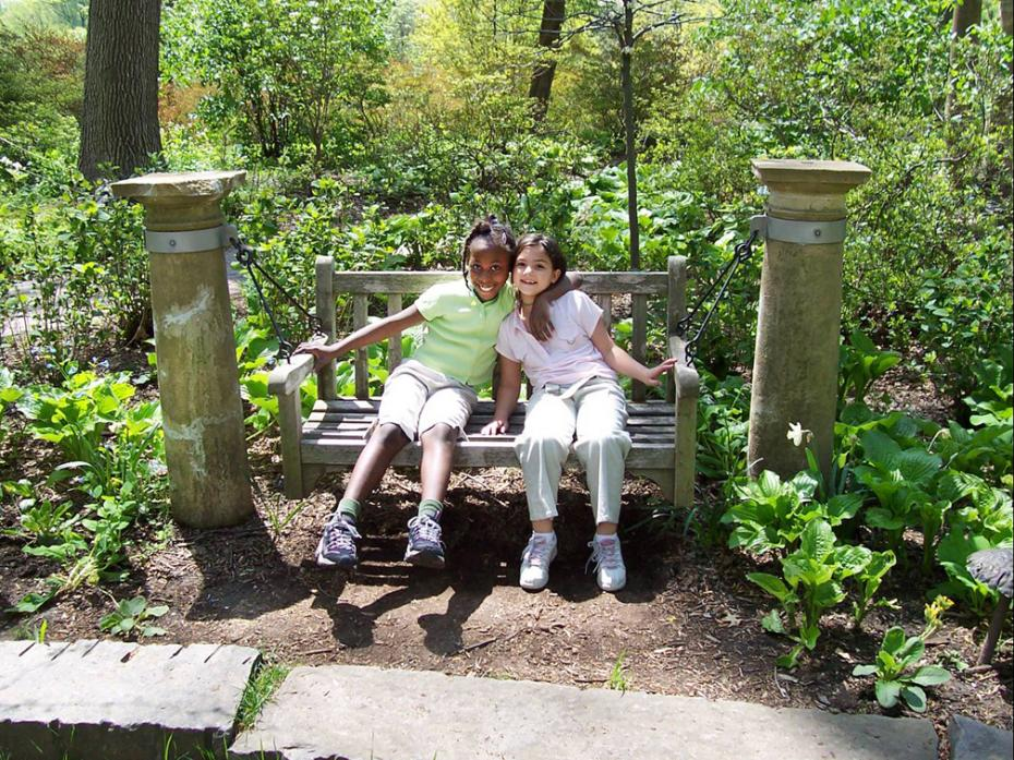 two kids on swing in enchanted woods