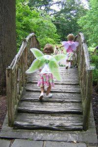 kid fairies crossing enchanted woods bridge