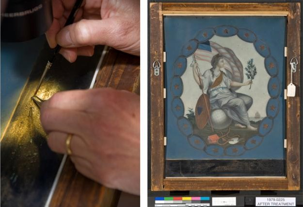 conservation of painting on glass montage