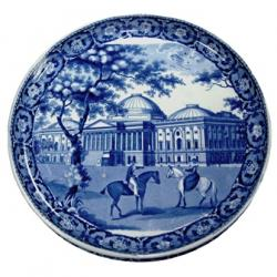 Cheese stand, earthenware with blue printed design depicting the Capitol Building,