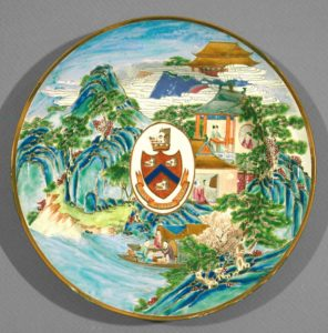 ceramic plate with chinese pastoral scene