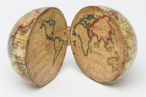 hinged world globe with flat map interior