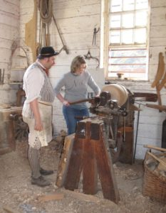 working at a lathe