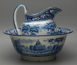 Pitcher and bowl, earthenware with blue printed design depicting the Boston State House.