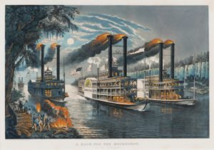 painting- A Race for the Buckhorns - steamboats racing on a river